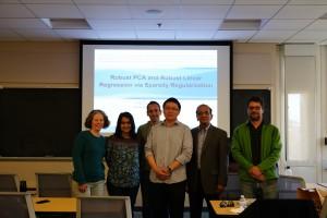 L to R: Prof. Cosman, Prof. Pal, Prof. Saab, Dr. Liu, Prof. Rao, and Prof. Arias-Casrto